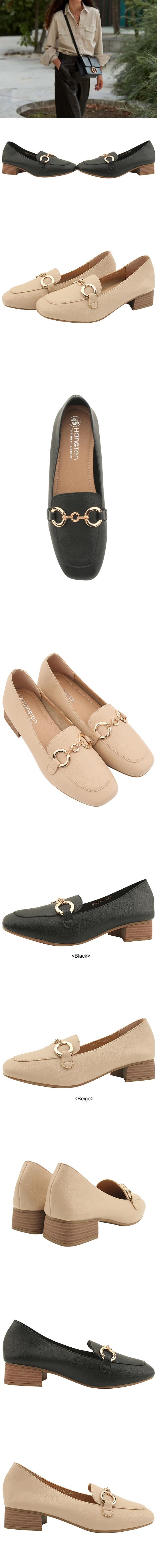 Gold chain loafers full heel low heel beige
