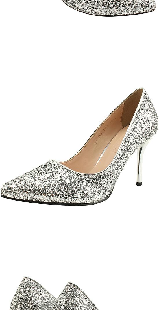Glitter Stiletto High Heel 9cm Silver