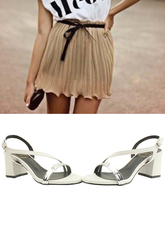 Metal strap middle heel sandals white