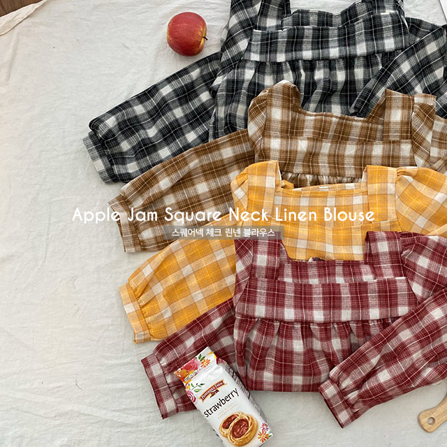 Apple Jam Square Neck Linen Blouse