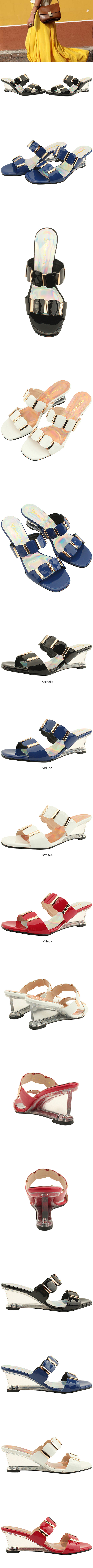 Unique Wedge Middle Heel Mule Slippers White