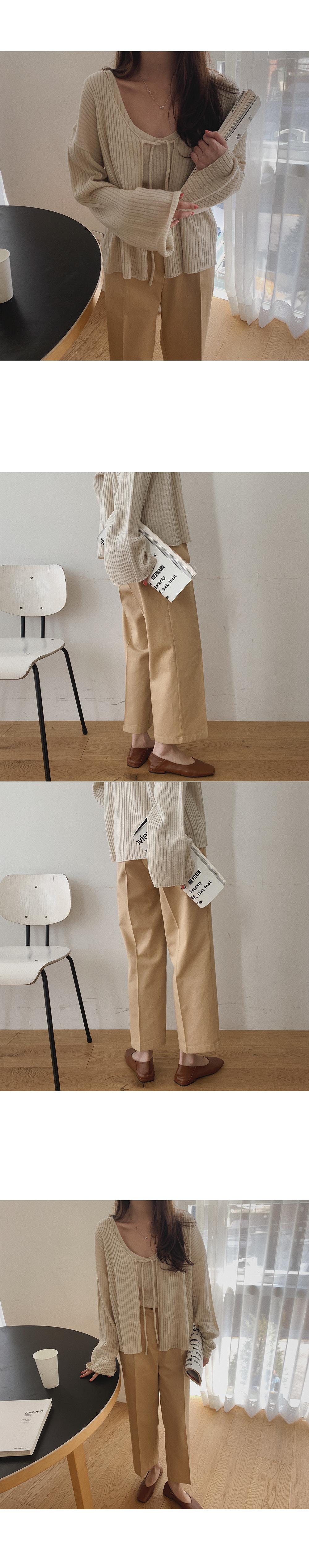 Buff Sleeveless Cardigan Set
