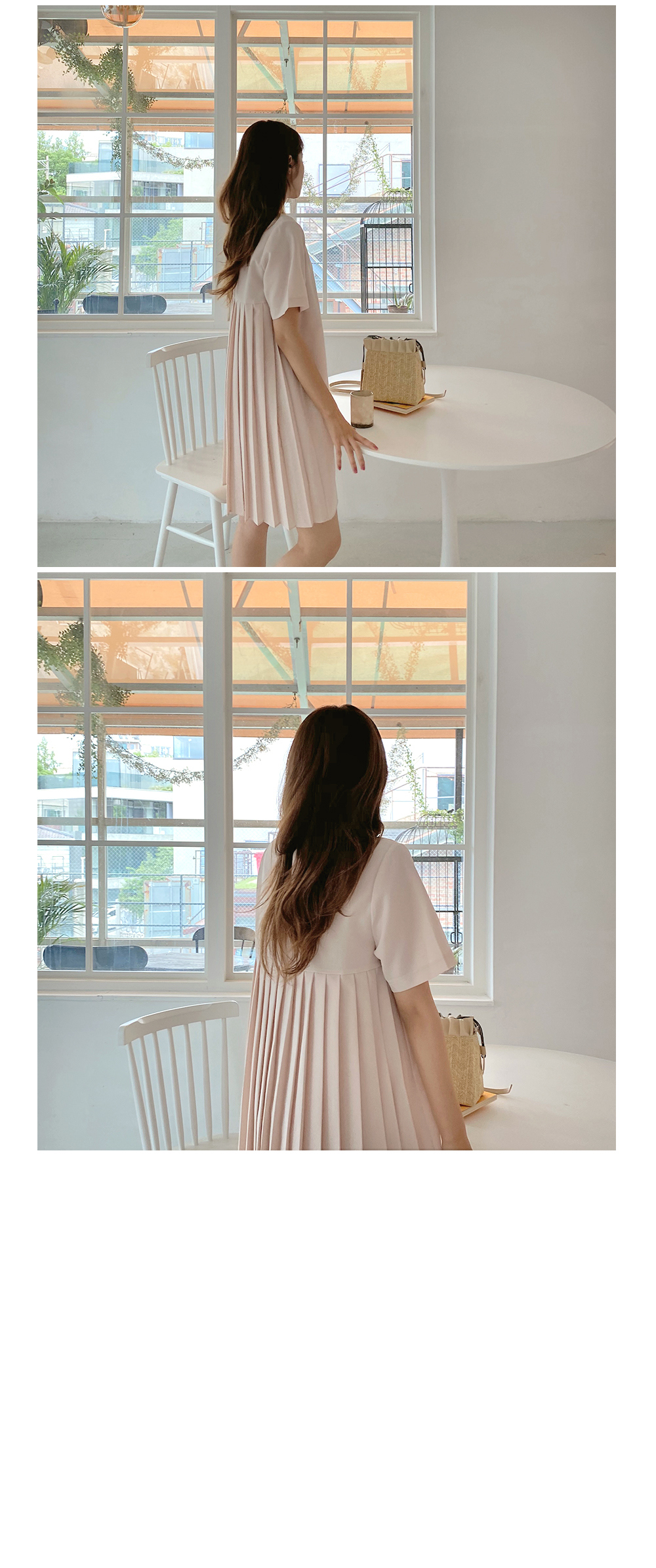 Back pleated dress