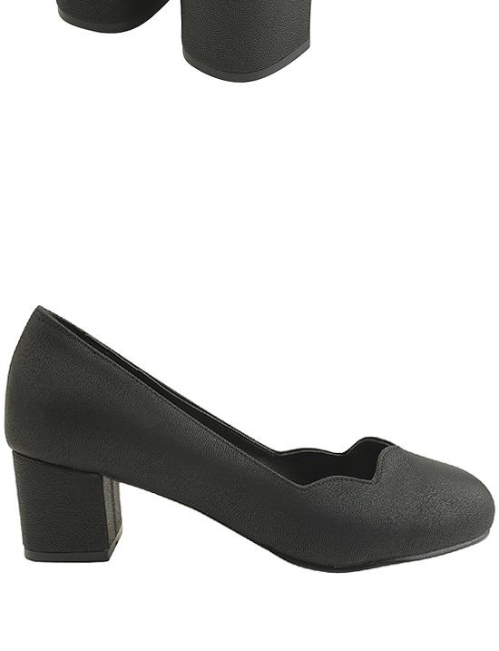 Round Toe Wave Full Heel Middle Heel Black
