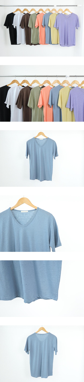 Linen V-neck short sleeve T-shirt