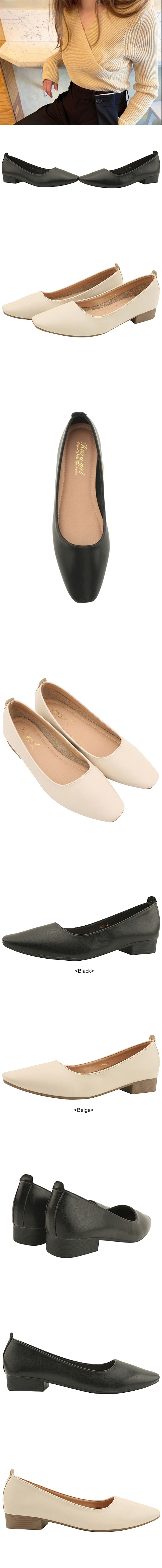 Square Toe Simple Loafers Low Heel Beige