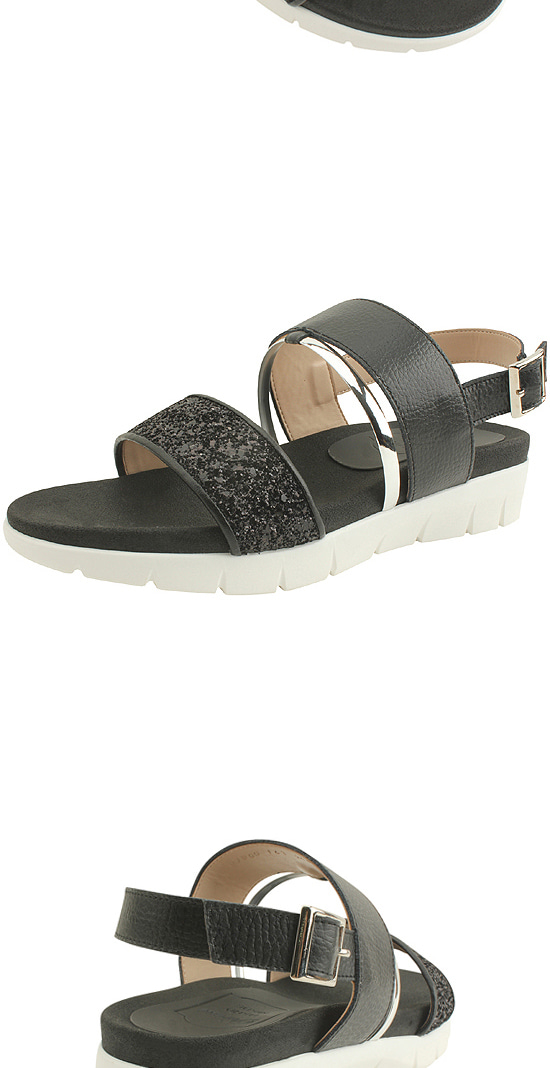 Cowhide Glitter Platform Sandals Black