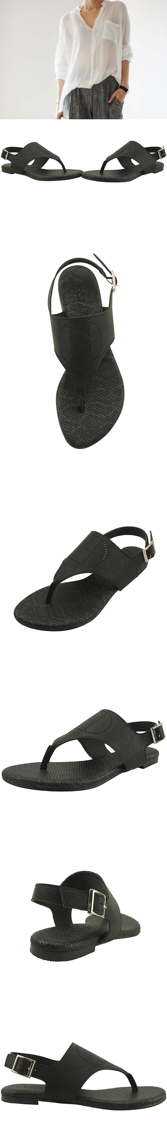 H flip flop sandals black
