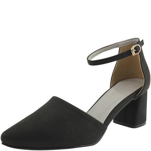 Strap stiletto middle heel black