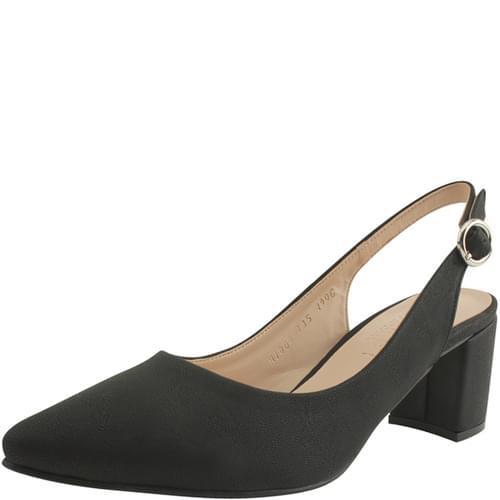 Pointed Nose Slingback Middle Heel 6cm Black
