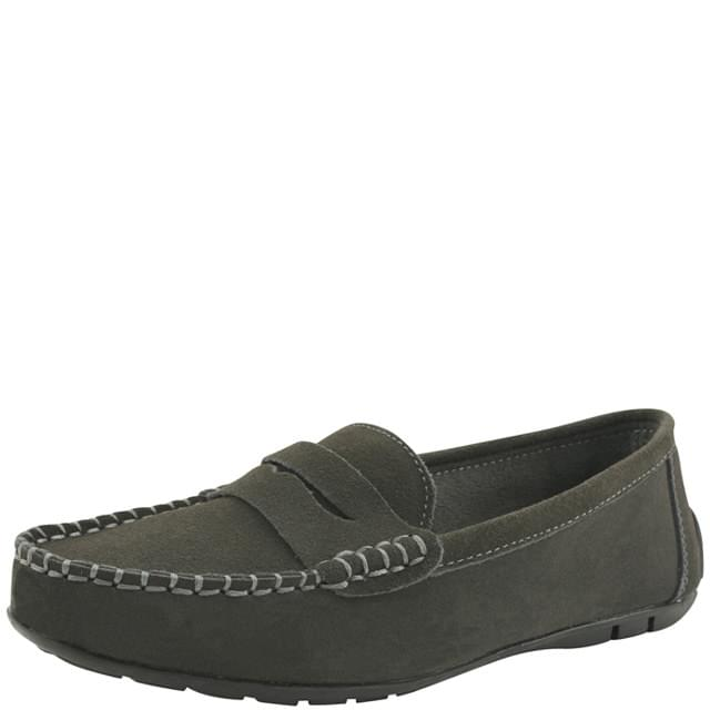 Cowhide Suede Penny Loafers Gray
