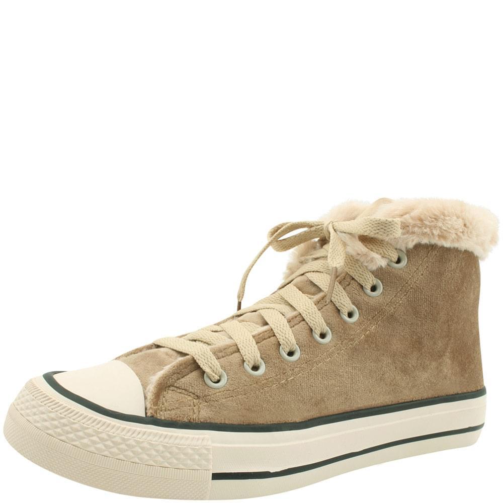 Canvas high-top fur sneakers beige