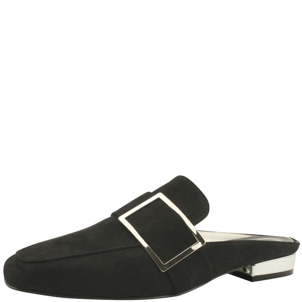Square Toe Buckle Low Heel Blocker Black