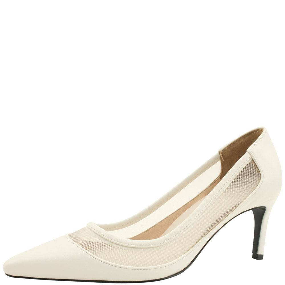 Mesh Two Tone Stiletto High Heels 7cm White