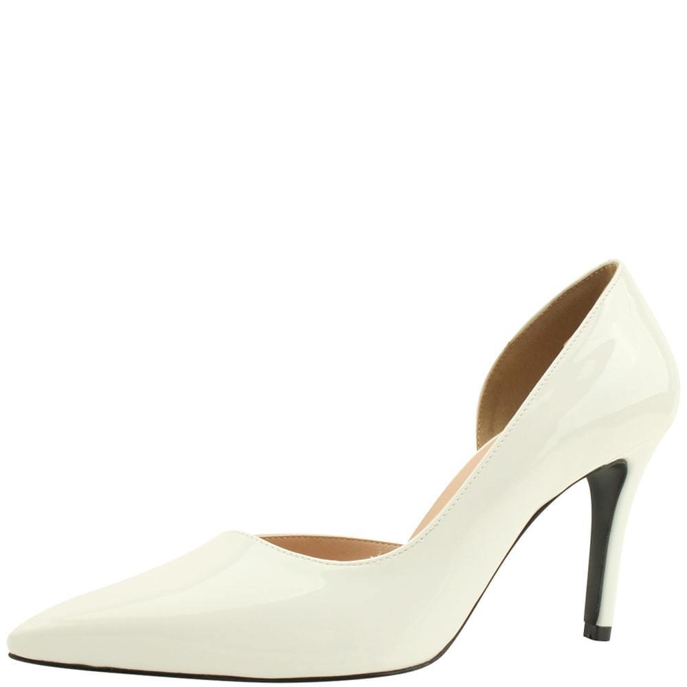 Stiletto high heels 9cm enamel white