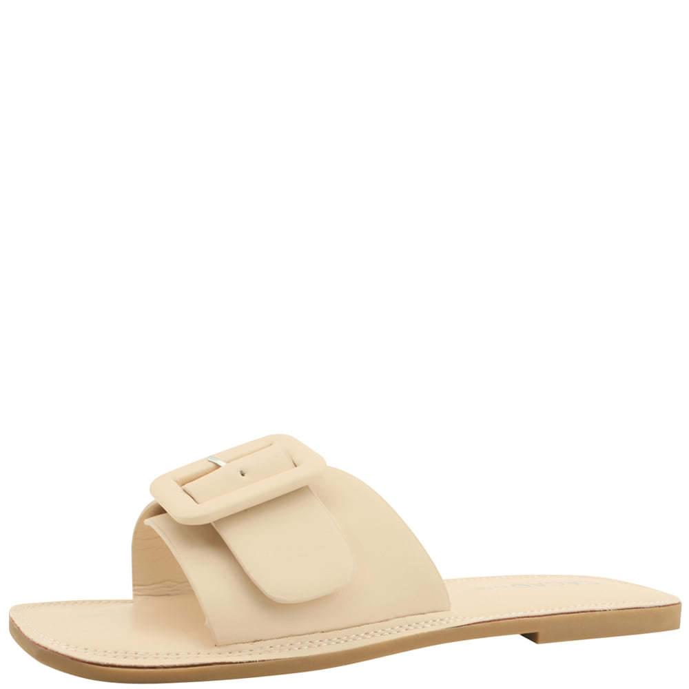 Square Toe Cushion Slipper Beige