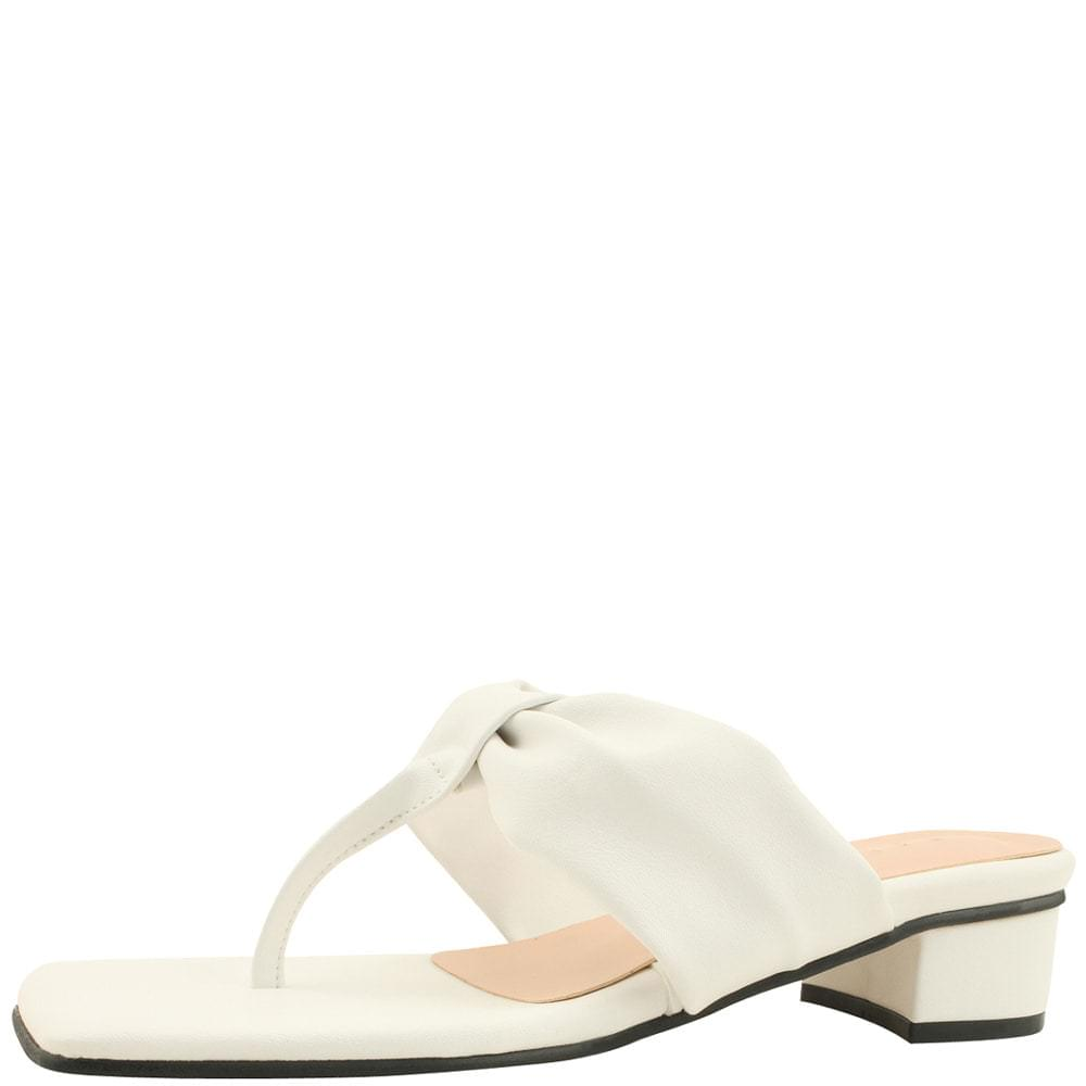 Shirring Heel Low Heel Mule Slippers White