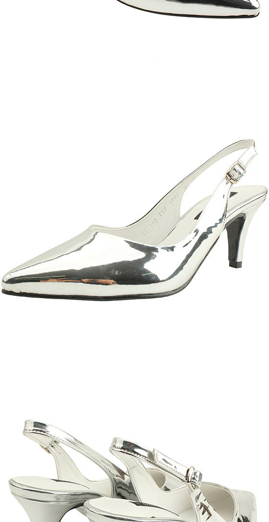 Slingback Stiletto High Heels 7cm Silver
