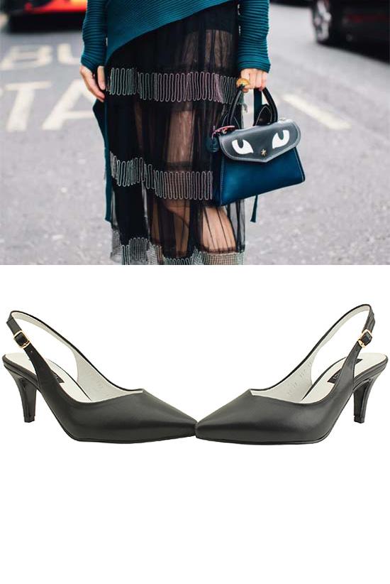 Slingback Stiletto High Heels 7cm Black