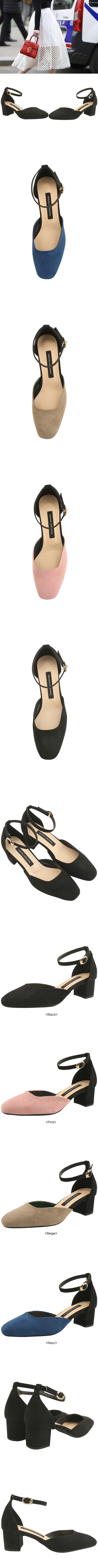 Ankle Strap Two-tone Full Heel Middle Heel Black