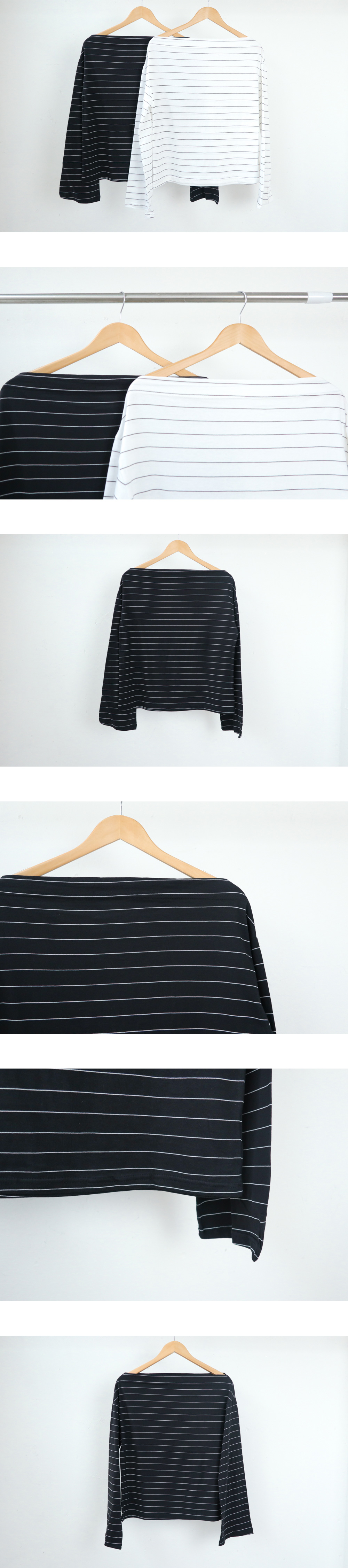 Unfooted off-the-shoulder striped T-shirt