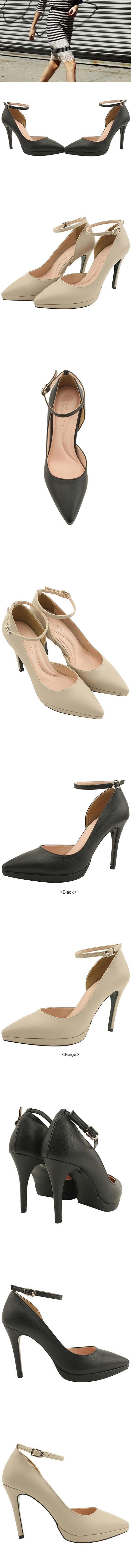 Strap heels stiletto high heels black