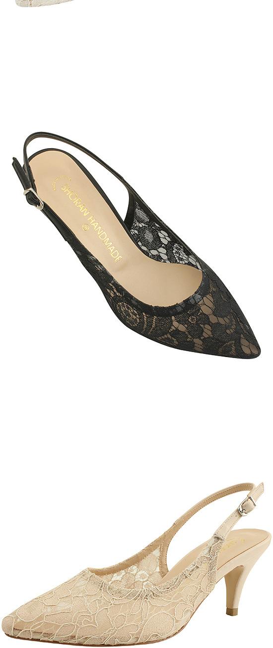 Flower Lace Stiletto High Heels Beige