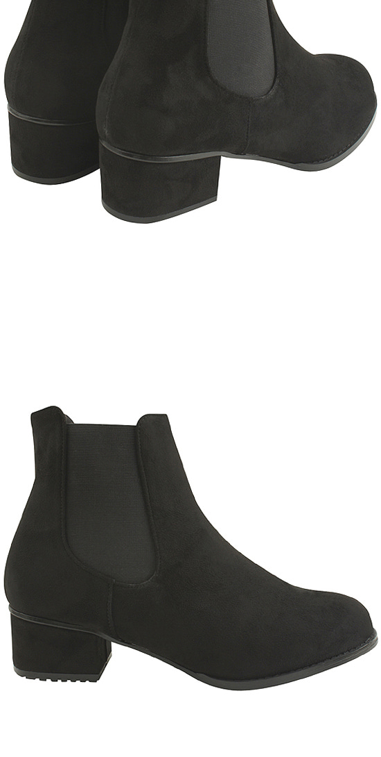 Full Heel Chelsea Suede Middle Ankle Boots 4cm