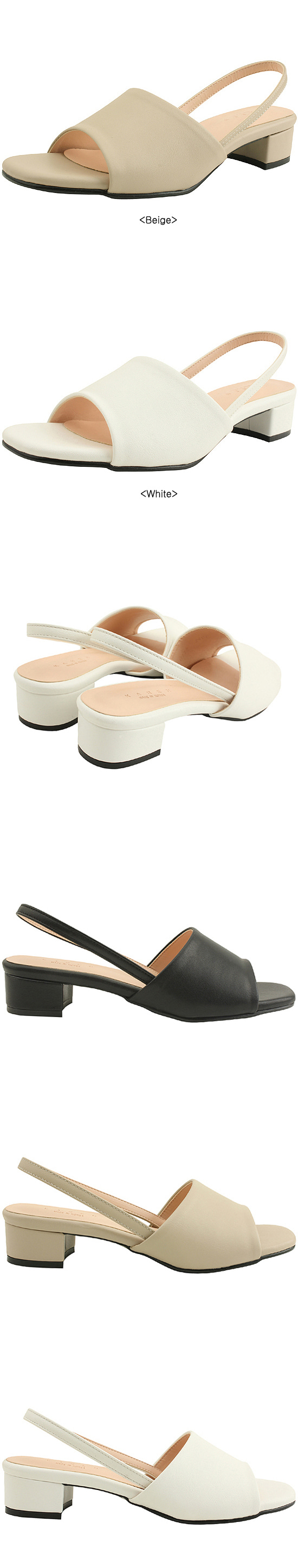 Slingback Low Heel Toe Open Sandals Beige