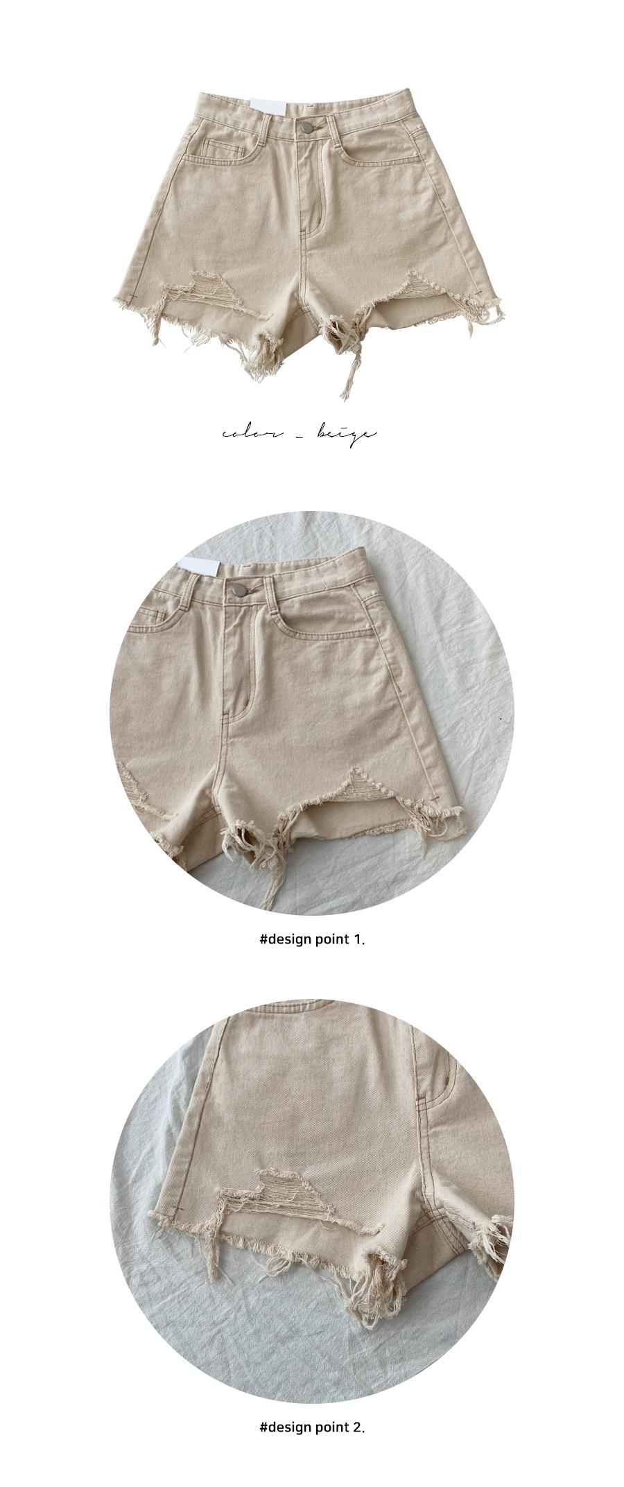 Oatmeal hem cotton short pants