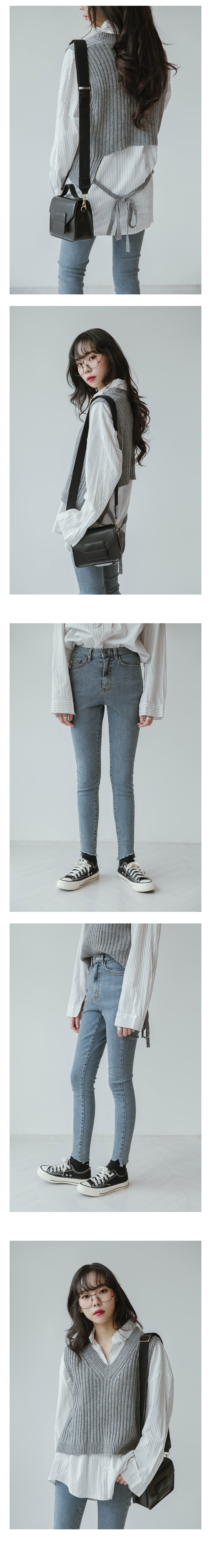 Point cut skinny jeans