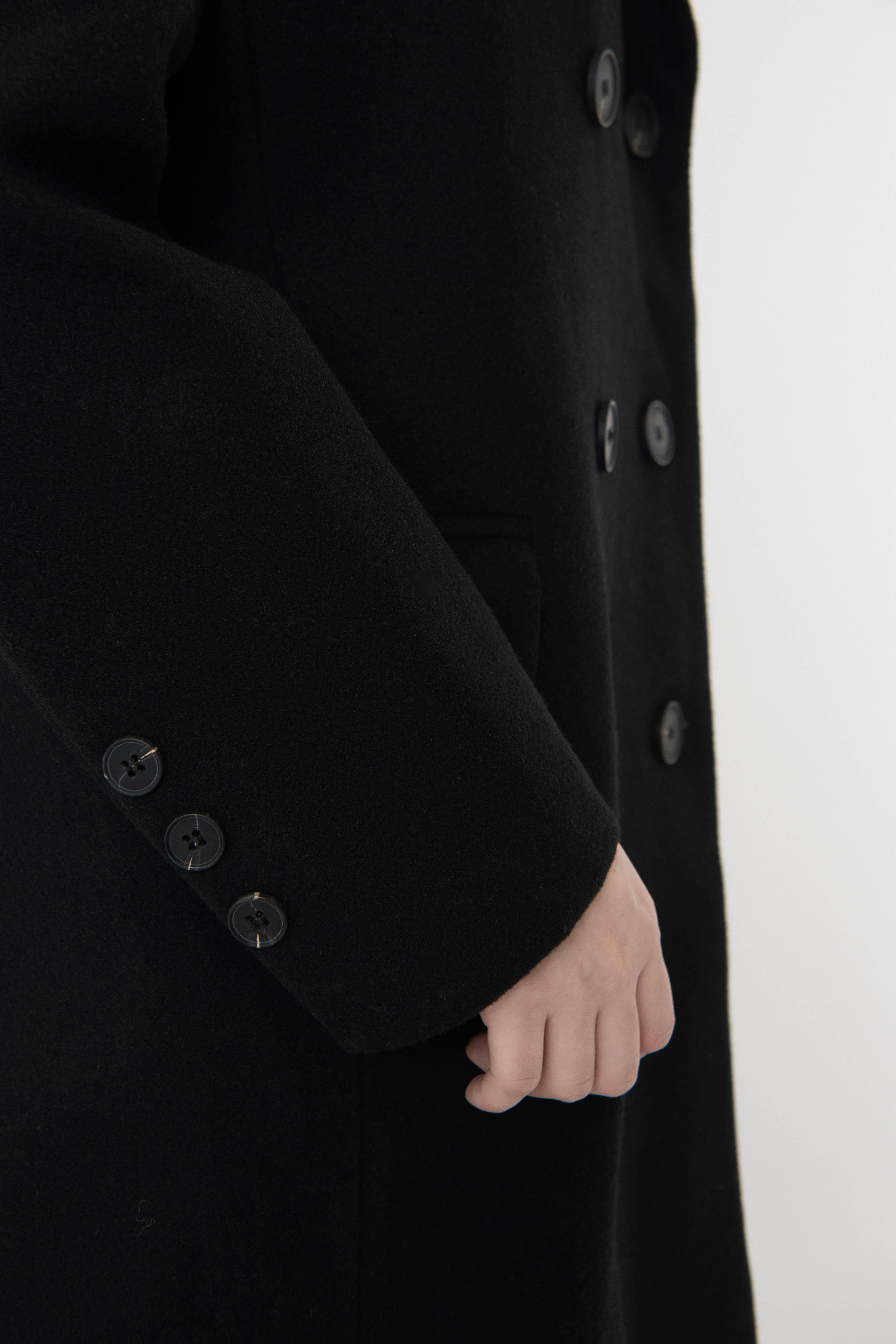 Basic wool double long coat