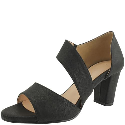 Diagonal strap toe open high heel sandals black