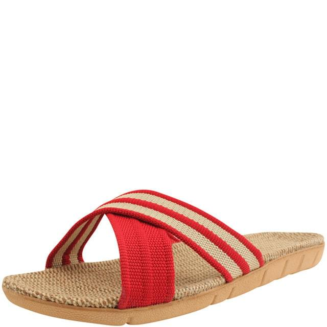 Cross strap rattan slippers red