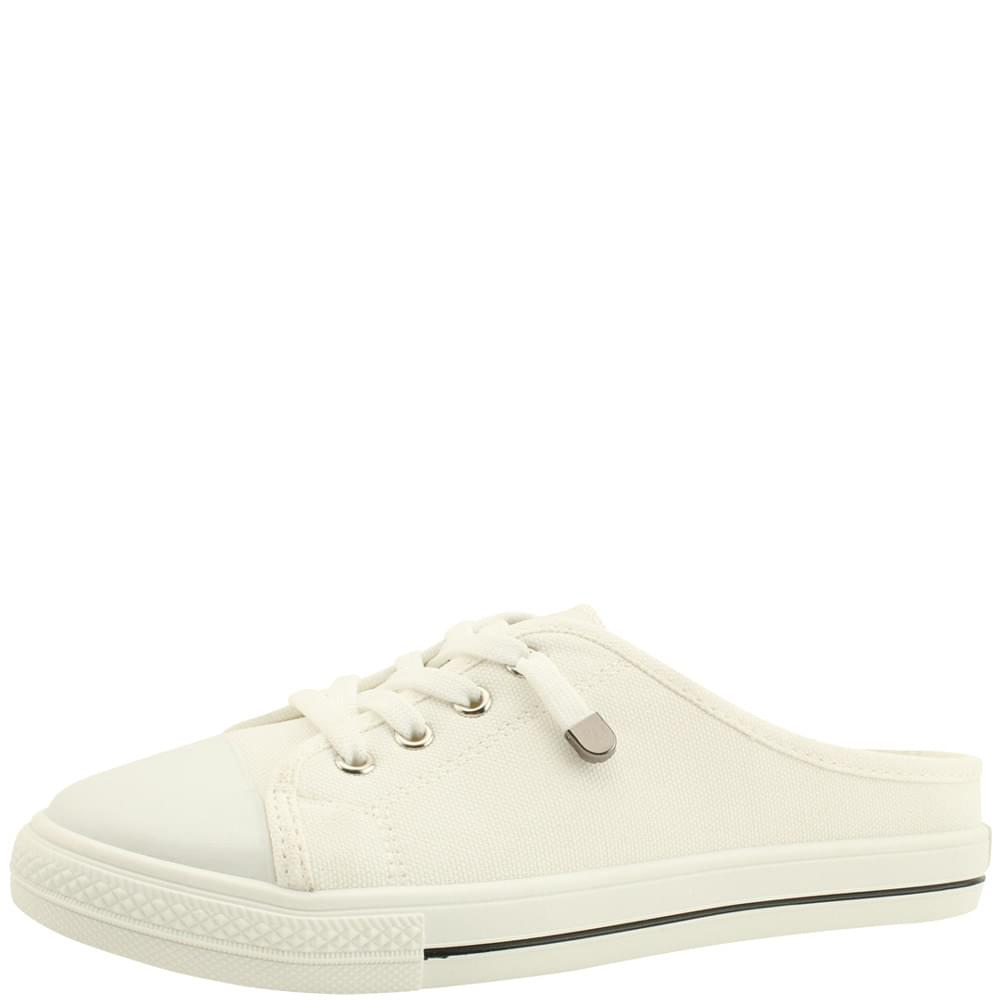 Canvas Sneakers Mule Slippers White