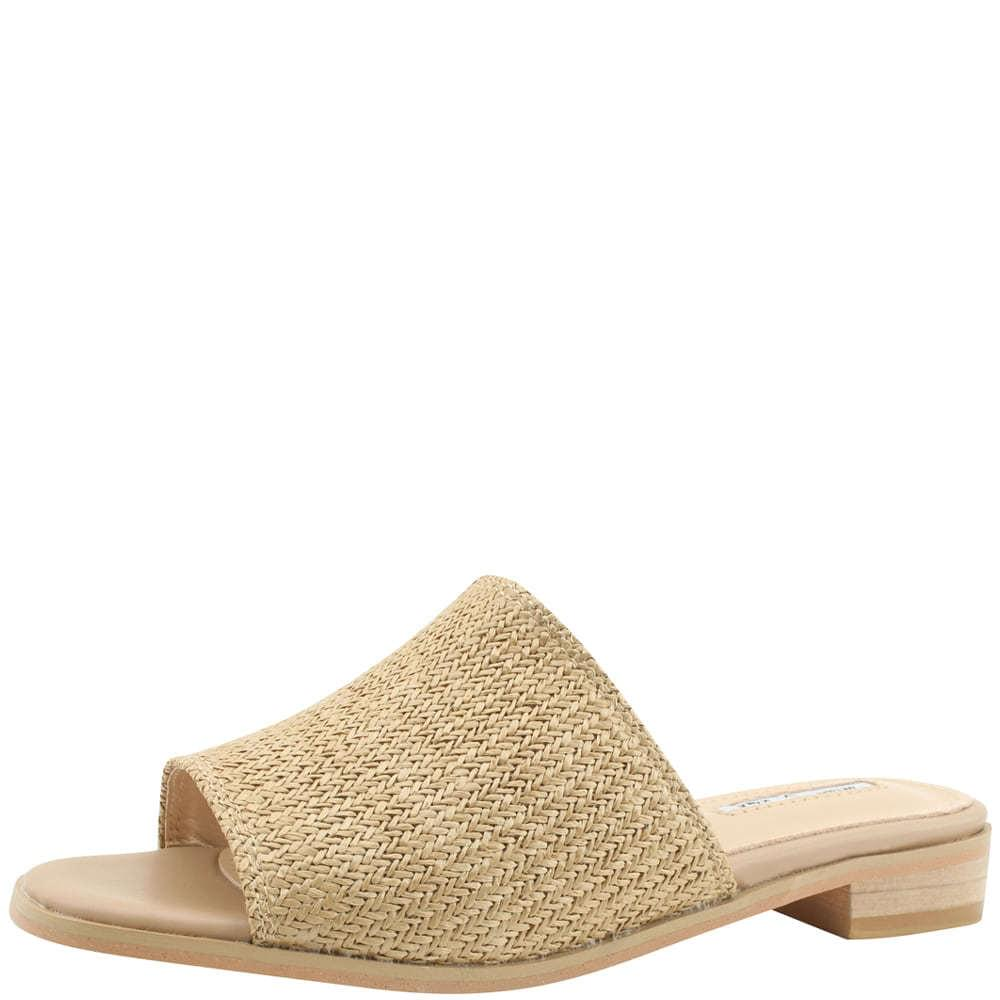 Rattan low heel mules slippers beige