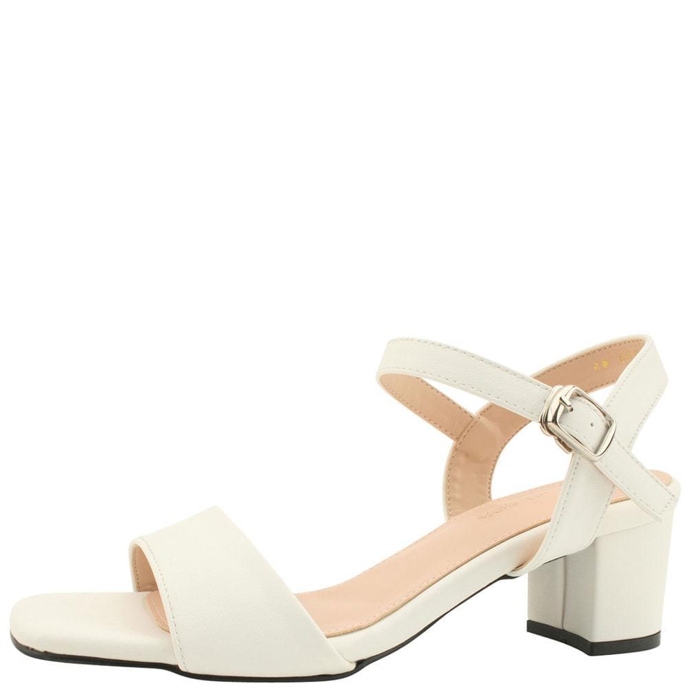 Square Toe Middle Heel Basic Sandals White