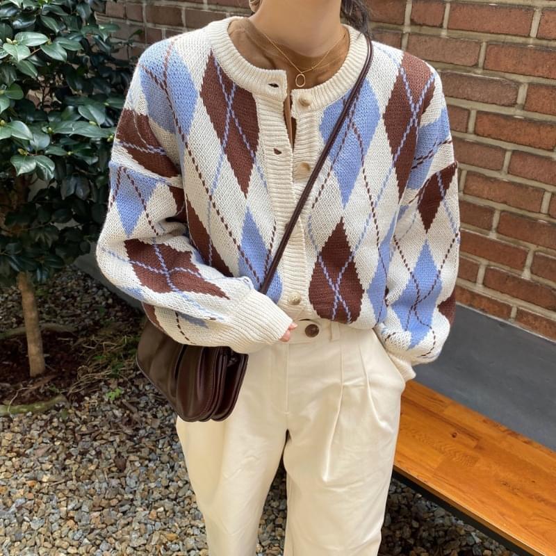 Argyle balloon knit cardigan