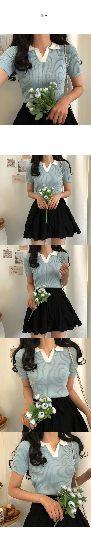 Earl Gray Color Collar Ribbed Knitwear