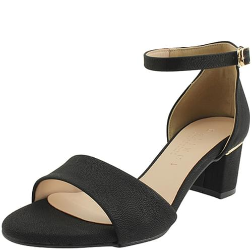 Ankle Strap Chunky Heel Sandals Black