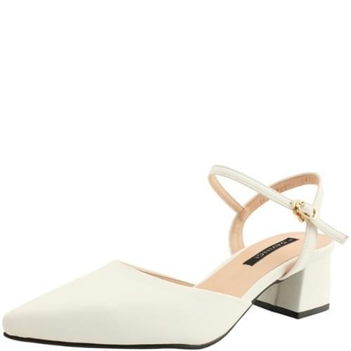 Stiletto strap middle heel white