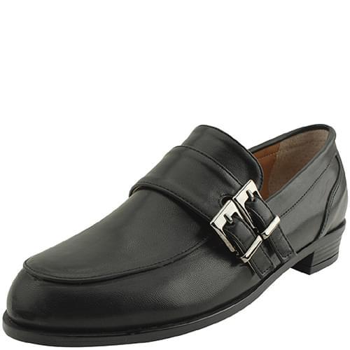 Double Buckle Strap Loafers Enamel Black