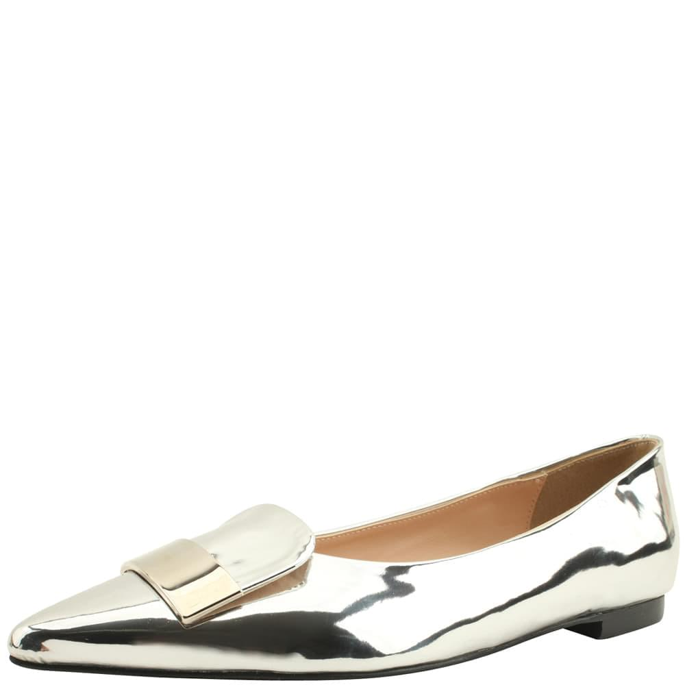 Chic Metal Stiletto Low Heel Flat Silver