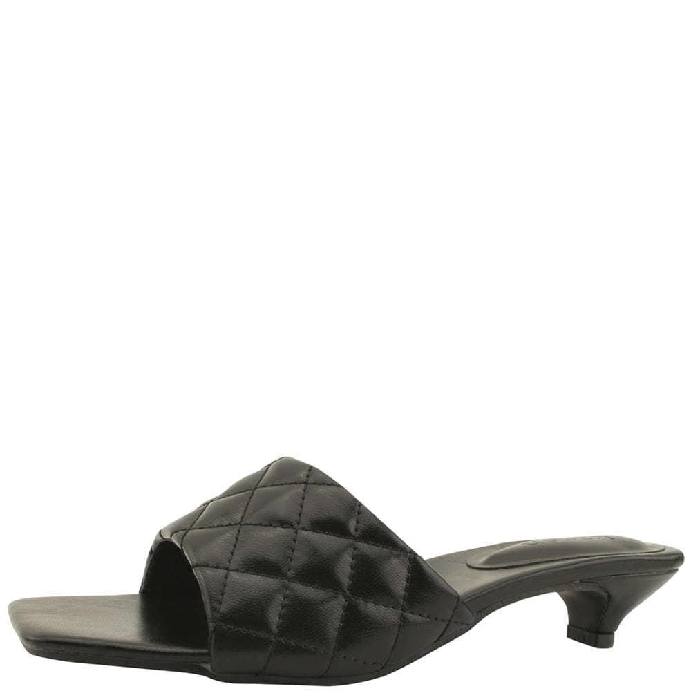 Square Toe Qualting Low Heel Mule Slipper Black