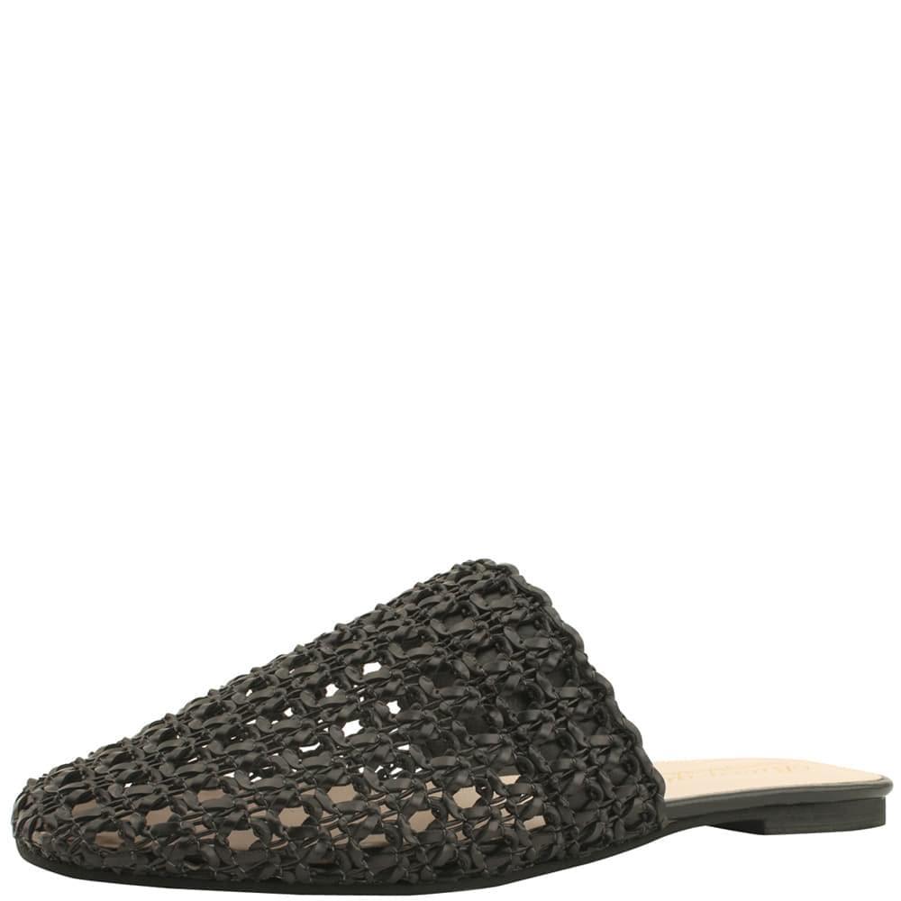 Mesh net flat mules slippers black