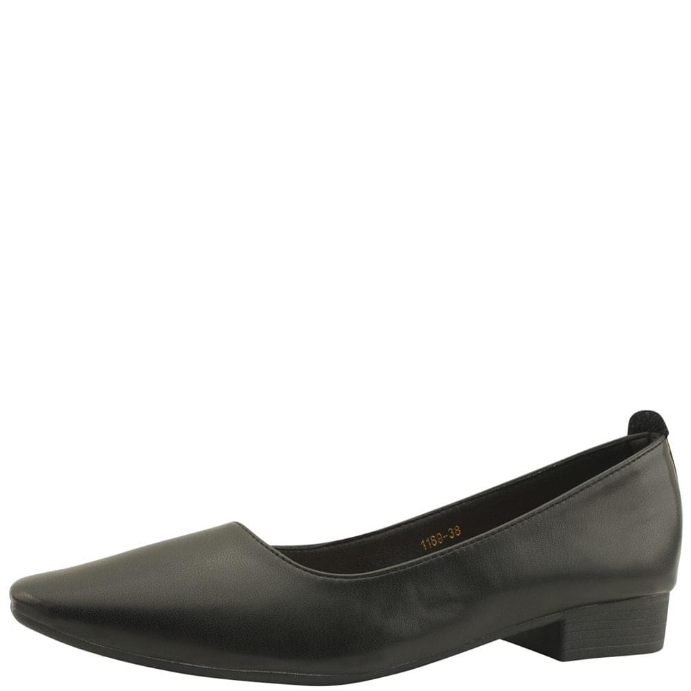 Square Toe Simple Loafers Low Heels Black