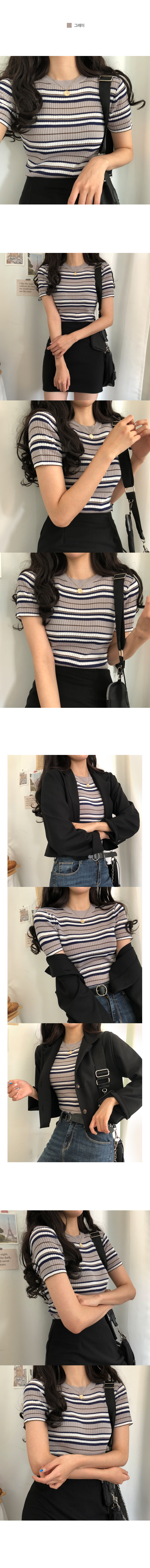 Kenta Striped Ribbed short sleeve Knitwear