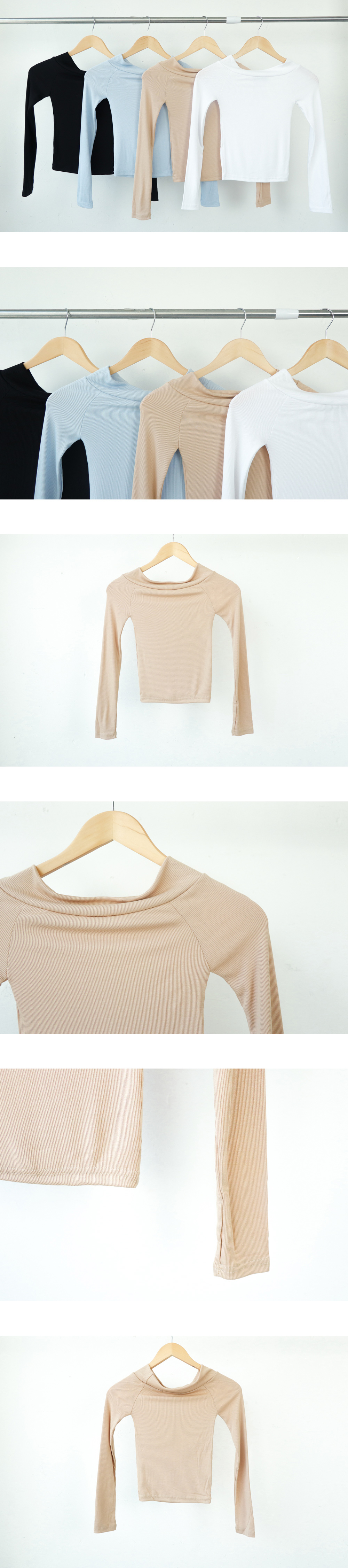 Ribbed off lip neck T-shirt