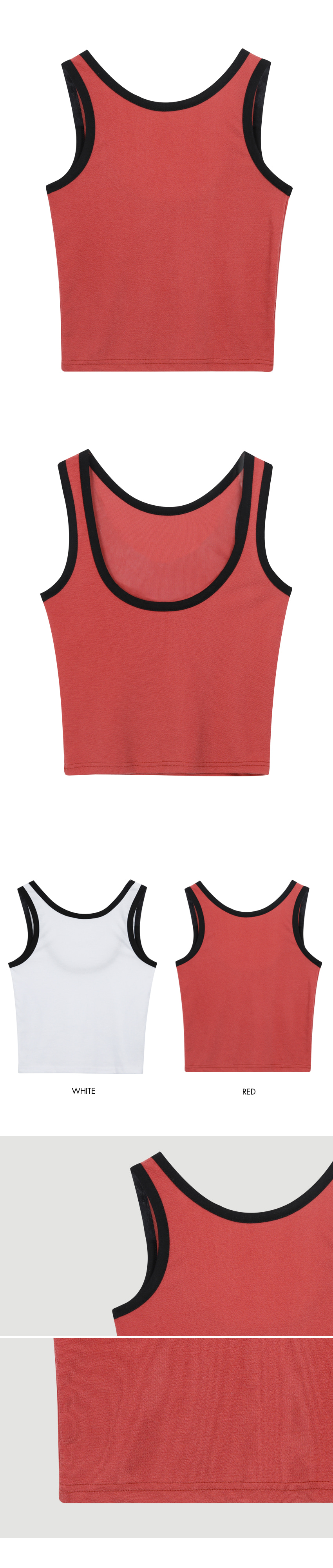 Color Point Sleeveless Top