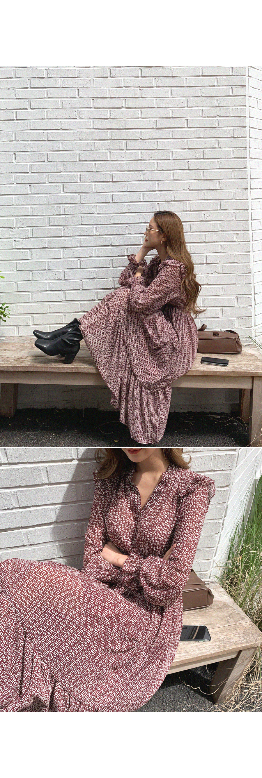 Feeling Happiness Frill Flower One Piece